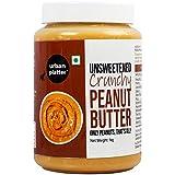 Urban Platter Natural Crunchy Peanut Butter, 1kg / 35.2oz [Unsweetened, No Added Oil, Vegan]