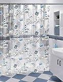Duschvorhang Briefmarke 180cm breit x 180cm lang transparent weiß blau grau Viny + Ringe
