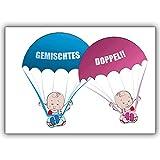 1 Babykarte: Süße Zwillings Babykarte zur Geburt von Zwillingen: Gemischtes Doppel!!