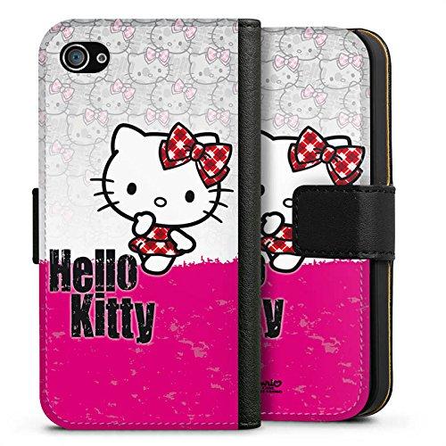 Apple iPhone 6s Tasche Hülle Flip Case Hello Kitty Merchandise Fanartikel Pink Punk Sideflip Tasche schwarz