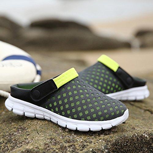 Bwiv sabots unisexes légers et transpirants chaussons dété pantoufles de plage des tailles 37-43 Gris avec bride verte