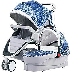 Hot Mom Cochecito de Bebe 2019 Multifuncional Sistemas de Viaje, Buenos amortiguadores, Asiento Regulable en Altura, Reversible,Color marrón, Asiento para bebé 91x39x101cm