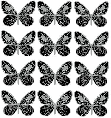 12 X PRE-CUT SILVER/GREY & BLACK SPIDERWEB BUTTERFLY EDIBLE RICE / WAFER PAPER CUP CAKE TOPPERS BIRTHDAY PARTY WEDDING DECORATION by Anglesit Halloween (Cake Wedding Topper-designs Halloween)
