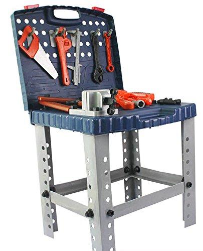 Brigamo Spiele 471 - Kinder Werkbank, über 100 Teile, mit voll funktionsfähigem Werkzeug