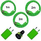 6in1 Set (2X USB Netzteil 5V 1A + KFZ Auto Ladegerät + 1m + 2m + 3m Nylon Ladekabel Datenkabel) kompatibel mit [Apple iPhone