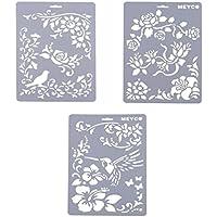 YNuth Set de 3pcs Plantillas de Dibujo de Plástico Stencil Scrapbooking Diseño Rosa Pájaro para Niños Artesanía de Bricolaje