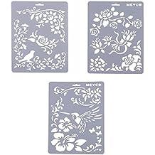 YNuth Set de 3pcs Plantillas de Dibujo de Plástico Stencil Scrapbooking Diseño Rosa Pájaro para Niños