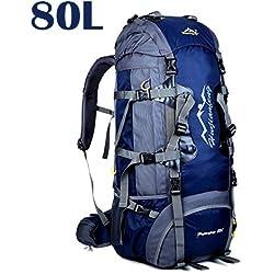 80L Travel Rucksack, ideal für Outdoor Sport, Wandern, Trekking, Camping Reisen, Bergsteigen. Wasserdichte Bergsteigtasche, Reiseklettern Daypacks, Rucksack, Rucksack (80L+Marineblau)