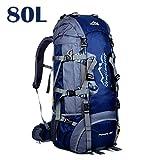 MYMM 50L / 80L Trekkingrucksacke,Outdoor Wanderrucksäcke,ideal für Sport im Freien,Wandern,Trekking,Camping Reisen,Bergsteigen.Wasserdichte Bergsteigtasche,Reiseklettern Daypacks(80L, 80L Marineblau)