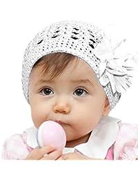 Bonnet Bebe, Oyedens Grandes fleurs Bonnet de Tricote Chapeaux Ensemble  Bonnet Echarpe Hiver 10fe814822f