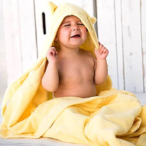 Kids Baby Bath Large Towel 80x135cm Cute Cat Hooded Ultra-soft Flannel Bathing Wrap Blanket,0-6 Years Old (Yellow)
