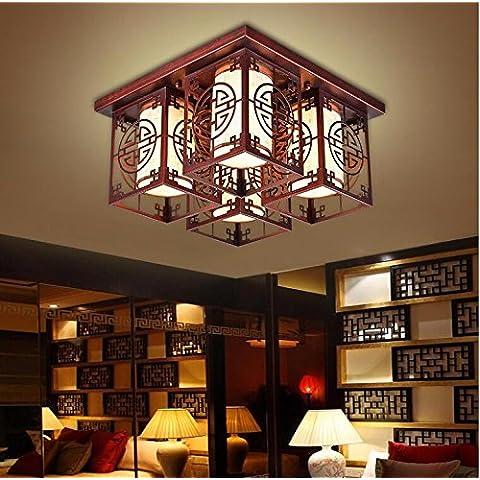 midtawer Nuovo cinese di luce a soffittoMinimalista ristorante rettangolare ferro luce soggiorno lampadeL'hotel è luminoso Cina vento luci a parete,Rosso antico spazzolato,E14*4Testa