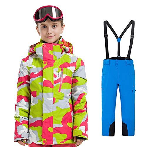 LPATTERN Traje de Esquí para Niños/Niñas Traje Conjunto de Nieve Impermeable para Deportes de Invierno, Gris+Azul, 120/5-6 años