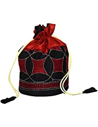 Potli Bag / Botua / Party Clutch With Hand Embroidery In Silk Fabric (Red, Black)