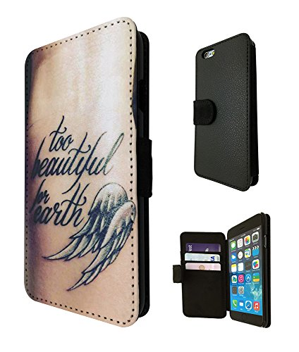 002613 - Tattoo Angel Too Beautiful For earth Design iphone 5 5S / iphone SE 2016 Fashion Trend TPU Leder Brieftasche Hülle Flip Cover Book Wallet Credit Card Kartenhalter Case