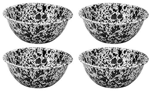 Crow Canyon emailliert Rund Salat/Servierschale, Classic Geschirr-Set von 4-Color Marmor Muster, 21,6cm Classic Black Marble Black Classic Teller