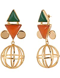 SHAZE Gold-Plated Orange & Green Renpet Earring |Earrings For Women|Earrings For Women Stylish