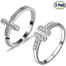 Set de 2anillos de plata de ley 925de las mujeres Cruz, Circonita y T carta simple Abierto Ajustable con bolas y anillo de compromiso para mujeres y hombres por Gilind