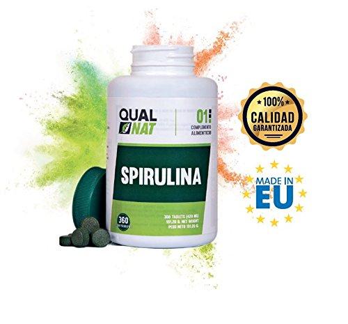 Foto de Complemento alimenticio a base de alga espirulina - Spirulina 100% natural con alta cantidad de proteínas vegetales - Ideal para deportistas y apta para veganos y vegetarianos - 360 comprimidos