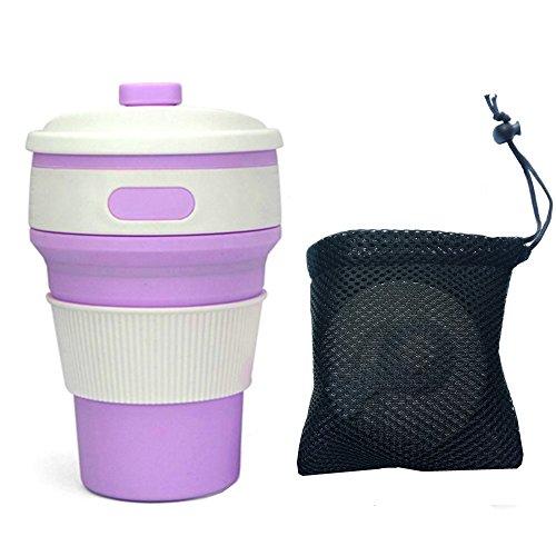 LXMAO Faltbare Kaffeetasse, Silikon-Tasse für Reisen Leckdichte Silikon BPA-frei Kaffeetasse für Outdoor-Aktivitäten Camping Wandern, 350ml Folding Cup