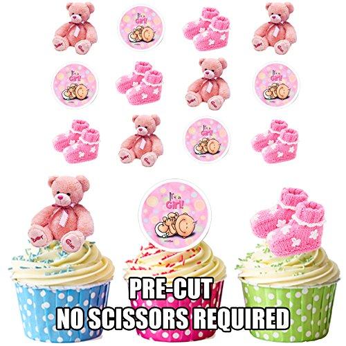 Rosa, für Mädchen, essbar, stehend, für Cupcakes und Kuchen, 12 Stück (Teddy Bear Baby-dusche Dekorationen)