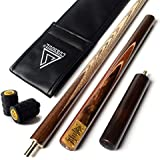 "CUESOUL 57"" Handcraft 3/4 Jointed Snooker Cue With Extension/Joint Protector Packed in Leatherette Cue Bag"