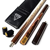 """CUESOUL 57"""" Handcraft 3/4 Jointed Snooker Cue With Extension/Joint Protector Packed in Leatherette"""