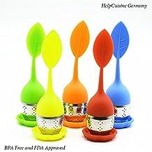HelpCuisine infusore per tè /filtro per tè, Infusore per te e tisane a forma di foglia di Tè, Realizzato in silicone privo di BPA con setaccio in acciaio inox, Set da 5 infusori (Arancione, Verde, Rosso, Giallo, Blu ), 24 mesi di Garanzia!