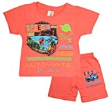 Zorrik Boys' T-Shirt and Shorts (7, Pink, 3-4 Years)