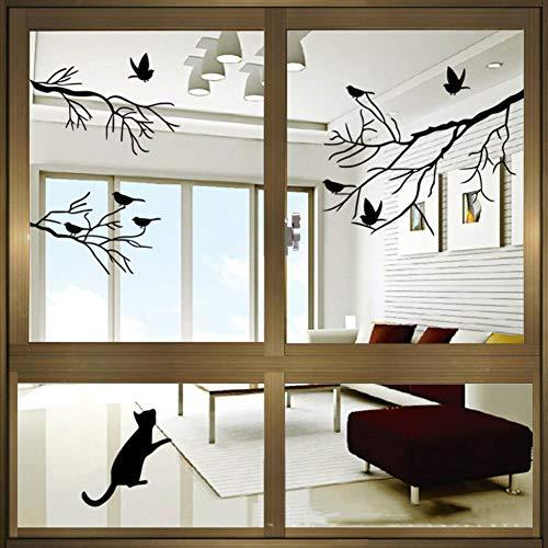 Vogel Silhouetten Fensteraufkleber,Vinyl Wasserdicht Wandsticker,Dekoration Glastür Kunst Kinderzimmer Entfernbar Abziehbild Tapete-schwarz -