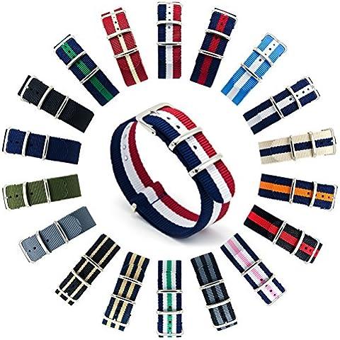 CIVO Reloj Bandas OTAN Premium Ballistic Nylon hebilla de correa de reloj de acero inoxidable de 18 mm 20 mm 22 mm con barra de herramientas de Primavera y superior 4 barras de resorte de bonificación (Navy/Crimson/Ivory,