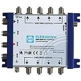 WISI FLEXSWITCH Multischalter DRR 0508 – Receiver-gespeister 5-in-8 Multiswitch mit passivem terrestrischem Zweig für 8 Teilnehmer – Für DVB-T/T2, DVB-S/S2, DAB & UKW, silber