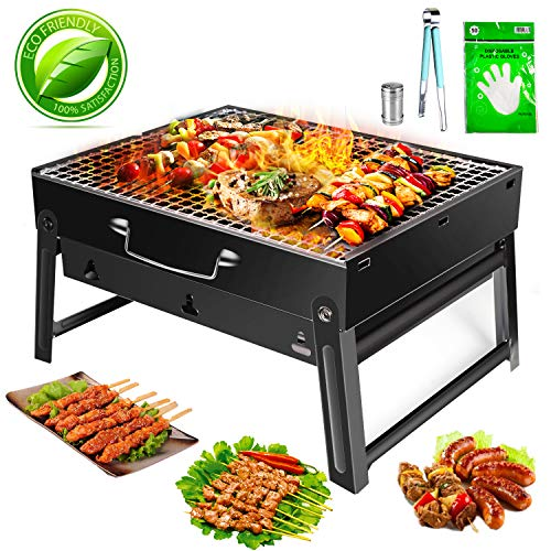 FISHOAKY Portable Grill, Mini BBQ Holzkohlegrill Edelstahl, Tragbar Klappgrill BBQ Camping Barbecue Grill mit Handschuhe+BBQ Zange+Ölsprüher für 2-3 Personen Outdoor Garten Party Beach Barbecue