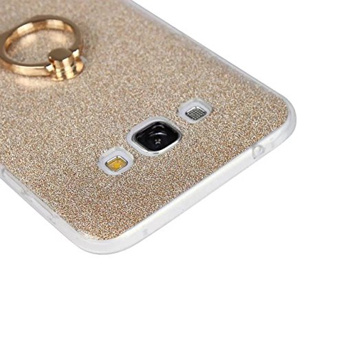Luxus Bling Sparkle Style Case, Soft TPU [Silikon] Flexible Glitter Back Cover mit Fingerring Stand [Anti Scratch] [Shockproof] für Samsung Galaxy A8 ( Color : White ) Blue