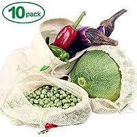 Winload Sacchetti Riutilizzabili Frutta, 10 Pezzi Sacchetti Riutilizzabili Cotone, Sacchetti Verdura Riutilizzabili con Etichetta Peso Tara,Borse per Ortofrutta con Coulisse per la Spesa di Alimentari