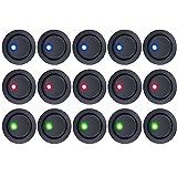 E Support™ 15Pcs 12V Auto KFZ Schalter EIN/AUS Wippenschalter Kippschalter LED Beleuchtet Schalter Blau Rot Grün
