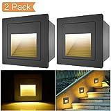 [ 2er ] 3W LED Treppenlicht Boden Einbauleuchte Wandleuchte Treppen Stufenlicht Wandlampe Boden Einbauleuchte Treppenleuchte Flurlampe 2700K Warmweiß (Schwarz)