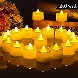 LED Kerzen, Nakeey LED Teelichter 24 LED Flammenlose Tealights Flameless Kerzen teelicht mit CR2032 Batterien für Weihnachten, Weihnachtsbaum, Ostern, Hochzeit, Party (Warmweiß)