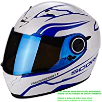 Scorpion Casco Moto EXO-490 LUZ, Pearl White/Blue, M - Moto Pearl White Moto