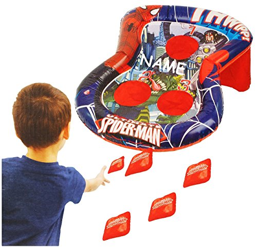 """Wurfspiel - """" Spider-Man """" - incl. Namen - für Draussen & Drinnen - aufblasbar - Bean Bag Kugeln / Ballspiel - Bälle - für Kinder - Jungen - Spiderman - Partyspiel Kindergeburtstag - Geschicklichkeit & Motorik"""