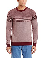Blackberrys Mens Cotton Sweater (8903016700457_HERRING_39_Ivory and Merlot)