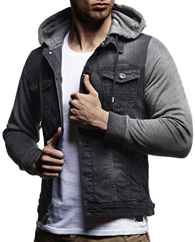 LEIF NELSON Herren Sweat-Jacke Denim | Vintage Jeans-Jacke für Männer mit Kapuze Slim-Fit Langarm | Freizeit Hoodie verwaschen, Casual -