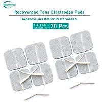 RecoverPad 20 Stück 40x40mm Professionell TENS Elektrode Pads,Dritte Generation Japanisches Gel Latexfrei wiederverwendbar Elektrode(CE/FDA Genehmigt),Verbessert Selbstklebend,Hautfreundlich