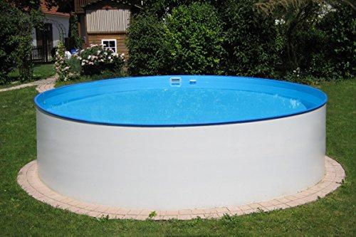 POWERHAUS24 MTH Schwimmbecken, rund, 3,00m x 1,20m 0,6mm Stahlwand, Folie mit Keilbiese