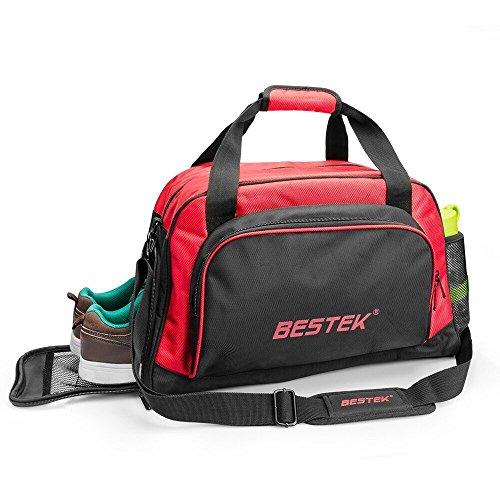 BESTEK Sporttasche l Separater Tasche für Schuhe, Basketball, Fußball l Zwei Netztaschen für Wasserflasche l Ideal für Ausgehen, Ausflug und Sport l Schwarz/Rot