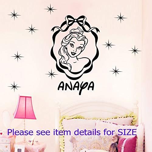 Disney Prinzessin BELLE entfernbare Wandaufkleber persönlichen Namen Home Decor Wandkunst Vinyl Kinderzimmer ()