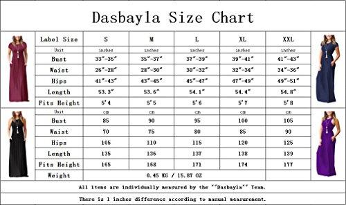 Dasbayla Damen Casual Lange Langarm Kleider mit Taschen 0-Dunkelblau