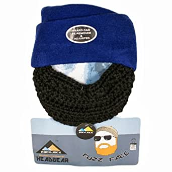 Official Rock Jock Fuzz Face Beard Beanie Hat - Bearded Beanie Hat - Several Colours Available (Blue)
