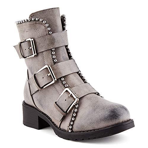 Fusskleidung Damen Biker Boots Schnalle Schlupf Statement Stiefel Stiefeletten Grau EU 37