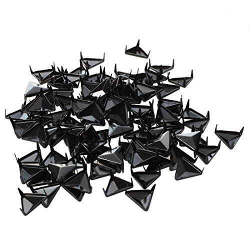 SODIAL(R) 100 Stucke 10mm Metall Bugel-Nieten Ziernieten Dreieck schwarz